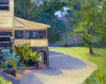 Plein Air Landscape Oil Painting Riverhouse on the Canal