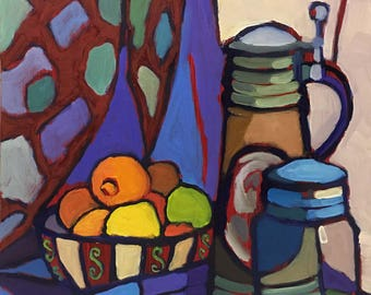 Pieces of Color Abstract Still Life Oil Painting on Panel