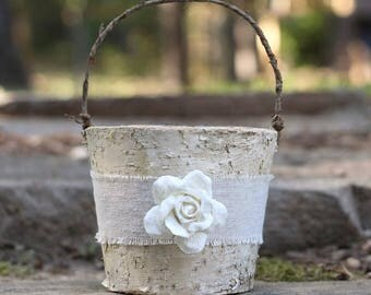 Rustic Flower Girl Basket Birch Burlap Linen, Paper Rose Rustic Shabby Chic Wedding