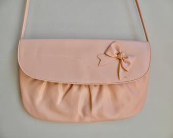 80s Ballet Pink Cross Body Vegan Purse With Bow