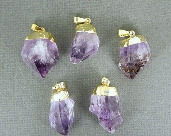 15% off Christmas in July Amethyst Point Pendant - Raw Amethyst with gold electroplated cap BeautfuL  WHOLESALE (S122B3)