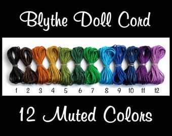 Nylon Blythe Doll PullString - Blythe Pull Cord in 12 Muted Colors - Strong, Washable & Colorfast