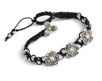 "Silver & Black Bracelet - Handmade Beaded Floral 7"" Macrame Rhinestone Bracelet - 7 inch Low Cost Jewelry - OOAK gift for teen girls"