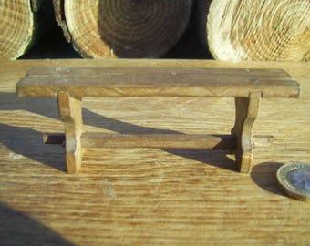 1/12th scale handmade dollshouse miniature medieval/tudor or rustic short bench