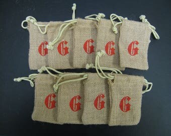 "9 pcs Burlap Bags with letter G stamped on it 3""x5"""