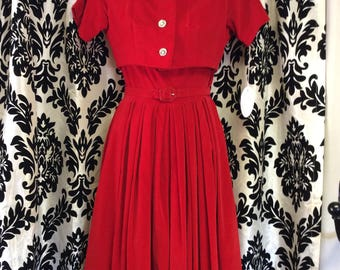 50's 3-piece Red Velvet Dress Set