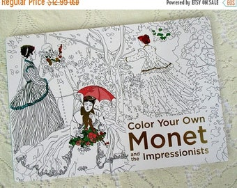 HOLIDAY SALE 20% Off Color Your Own Monet And The Impressionists Adult Coloring Book...Art Therapy
