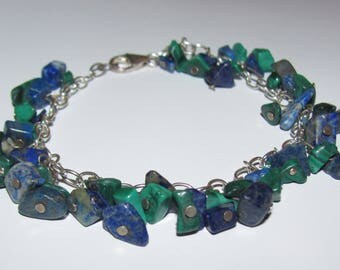 Sterling 925 Bracelet with Lapis Lazuli and Malachite Chips 7-1/2 inch