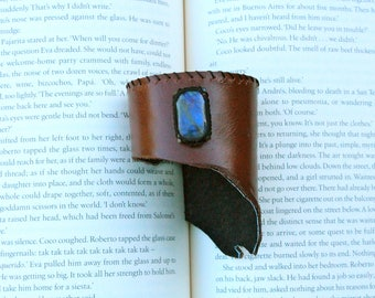 Leather Cuff - Labradorite Stone - Stone of Intuition and Self Discovery