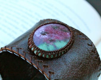 Leather Cuff - Ruby Zoisite Stone - Stone to Awaken the True Self