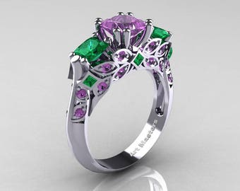 Classic 14K White Gold Three Stone Princess Lilac Amethyst Emerald Solitaire Ring R500-14KWGEMLAM