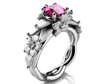 Nature Inspired 14K White Gold 1.0 Ct Pink Sapphire Floral Engagement Ring R460-14KWGSPS