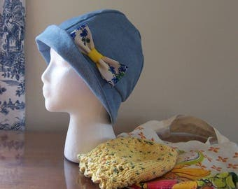 Cancer Patient Gift, Chemo Hats and Tote Bag - Two Hats, one Satin Lined Denim Cloche, one Cotton Knit Sleep Cap with Complimentary Tote Bag