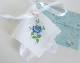 Groom's Mother's Gift, Wedding Handkerchief with Blue Rose, Vintage Hanky for Happy Tears, Shower Gift, Complimentary Gift Envelope Included