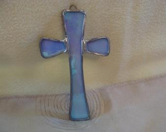 Blue Slag Glass Crafted Cross, Ornament