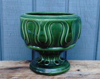Vintage Green Planter - Vintage Garden - Vintage Pottery