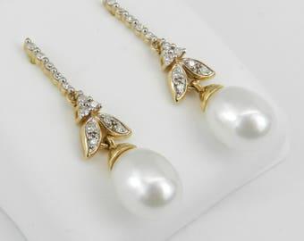 Pearl and Diamond Dangle Drop Earrings 14K Yellow Gold June Birthday Wedding