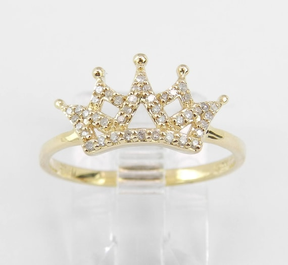 Yellow Gold Diamond Crown Ring Promise Band King Queen Royal Gift Size 7