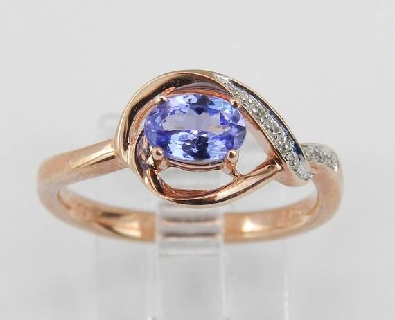 Diamond and Tanzanite Engagement Ring Rose Pink Gold Size 6.75 December Birthday
