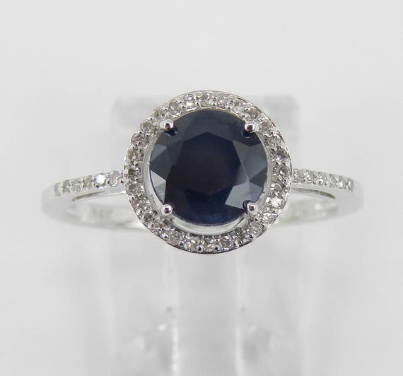 Diamond and Sapphire Halo Engagement Ring 14K White Gold Size 8 September Birthstone