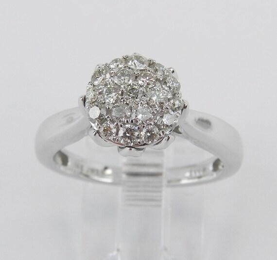 Diamond Cluster Engagement Ring Cocktail Promise Ring 14K White Gold Size 7