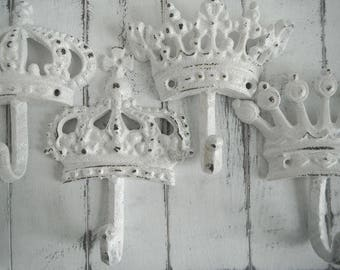white crown hooks crown hook set wall hook tiara hook shabby decor rustic chic french country bedroom decor clothing hook princess bedroom