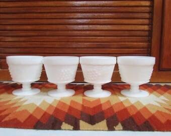 Milkglass Grape Motif Dessert Cups