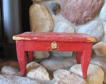 Vintage Red Painted Wooden Floral Step Stool