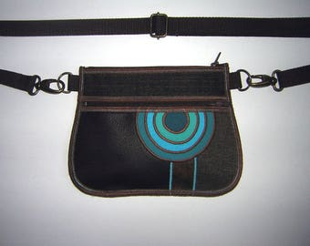 Hip bag small sling wallet Brown Turquoise cute waist bag Crossbody Bag elegante fanny pack Handmade Belt Bag mix fabrics in brown turquoise