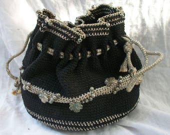 Crocheted Purse ~ Drawstring top ~ Black & Silver Metallic ~ Vintage Chic ~ Bohemian Style ~ Bead Charm Ornamentation