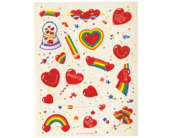 Vintage 80's HALLMARK Stickers Sheet ~ RAINBOW Hearts Candy Balloons Valentine
