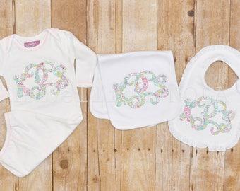 Vine Monogram Applique Ruffle Bib, Burp Cloth, Gown, or Gift Set