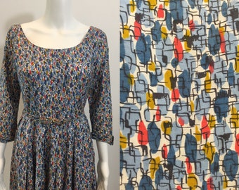 Stunning 1950's Betty Barclay Dress Atomic Print