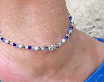 Blue Anklet, Silver Star Blue Swarovski Crystal Anklet, Blue Body Jewelry,  Something Blue Anklet, Beach Wedding Anklet, Bridesmaid Jewelry