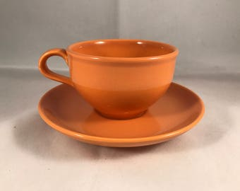 Russel Wright Iroquois Casual China Cantaloupe restyled coffee cup and saucer