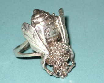 Vintage Sterling Silver BUMBLE BEE BUG Ring