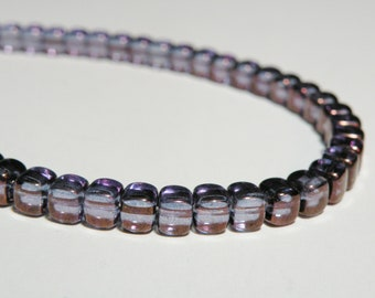 Sapphire Blue with Purple Bronze Metallic Picasso finish Czech glass rounded cube beads 6mm KPOM166