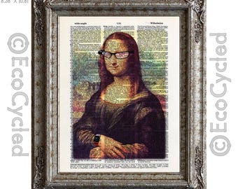 Mona Lisa is a Hip Geek on Vintage Upcycled Dictionary Art Print Book Art Print Recycled bookworm gift