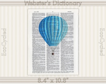 Blue Hot Air Balloon Illustration on Vintage Upcycled Dictionary Art Print Book Art Print Balloons bookworm gift book lover art gift flying
