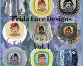 7 Cute, detailed and very versatile NEW Frida Machine Embroidery designs, Frida is framed in lace and comes in more version + ITH pockets