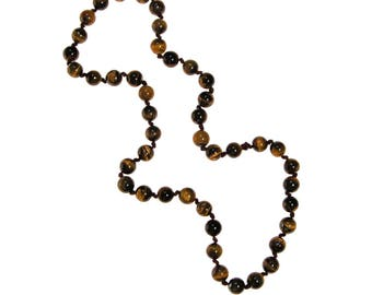 Tigers Eye Beaded Necklace, Long Strand