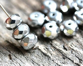 5x8mm  Silver colored Czech spacer beads, silver glass beads, donut, rondelle, gemstone cut - 12Pc - 0169