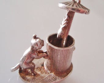 Silver Cat and Dustbin Moving Charm