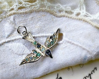 Antique Victorian Edwardian Art Deco Sterling Silver Paste Swallow Charm Pendant Necklace