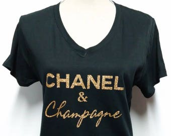 chanel shirt. chanel \u0026 champagne t-shirt - and tee inspired bling t shirt