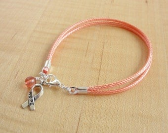 Peach Awareness  Bracelet (Cotton) - Uterine Cancer, Endometrial Cancer,