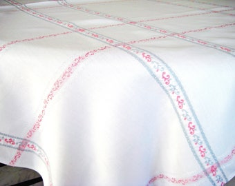 """Vintage Linen Blend Tablecloth, White, Pastel Pink, Light Gray, Made in Belgium for Kaufmann's, 61"""" x 50"""""""