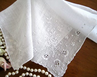 """1950's Vintage White Hanky, Floral Hand Embroidered, Scalloped, Cutwork, 12"""" x 12"""""""