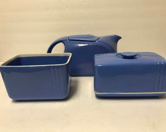 Westinghouse by Hall Delphinium Blue Refrigerator Set: Butter, Leftover Dish, Water Server Pitcher