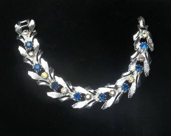 Signed ART 1950's Vintage BRACELET Cobalt Blue & Aurora Borealis Rhinestone Hollywood Glamour Costume Jewelry Gift For Her